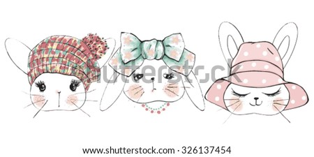 cute rabbits - stock vector