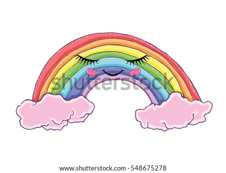 how to draw a rainbow with clouds