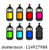 Cute rainbow markers and a black one isolated - stock vector
