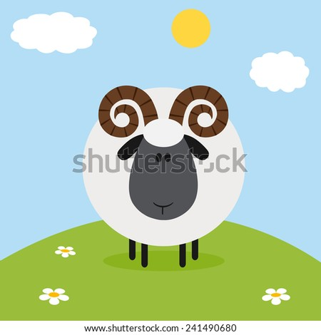 Cute Ram Black Head Sheep With Flower On A Hill.Modern Flat Design Vector Illustration  - stock vector