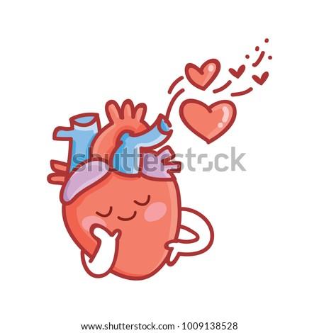 cute real anatomic heart character love stock vector 1009898089 rh shutterstock com Real Human Heart Beating Real Human Body Heart