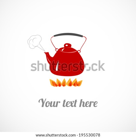 Cute red boiling teapot on fire. Vector illustration. - stock vector