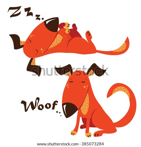 Cute red dog sleeps and plays - stock vector