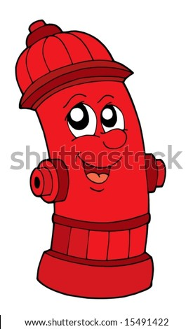 Cute red fire hydrant - vector illustration. - stock vector