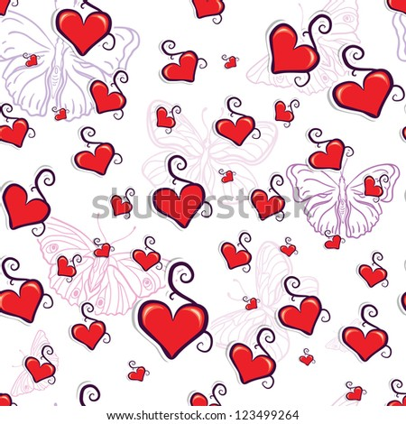 cute red hearts seamless texture