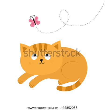 Cute red lying orange cat and looking at flying pink butterfly. Dash line track. Mustache whisker. Funny cartoon character. Flat design. Vector illustration - stock vector