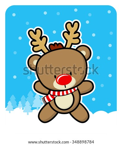 cute red nose baby reindeer on winter background - stock vector