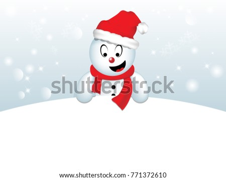Cute red nose Snowman, standing behind a blank sign, advertisement banner.  Layered and easy to customize.  Check out my christmas set for more.
