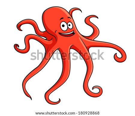 Cute red octopus with curling tentacles and a happy smile, cartoon illustration isolated on white - stock vector