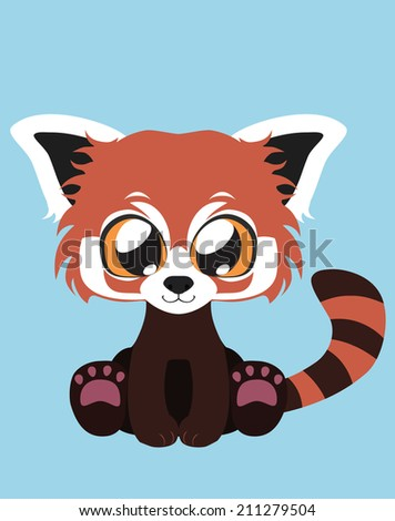 Cute Red Panda flat illustration art - stock vector