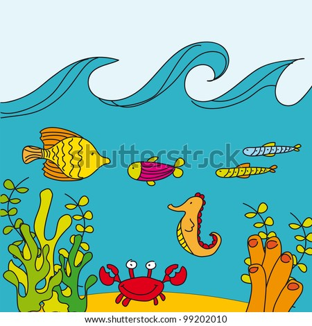 cute reef with marine animals, hand drawing. vector - stock vector