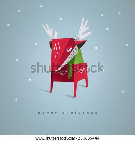 Cute Reindeer Christmas Card. - stock vector