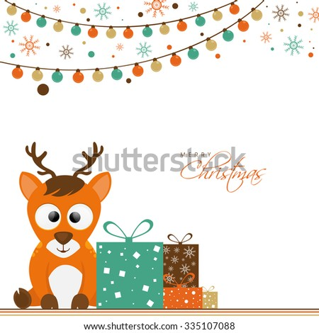 Cute reindeer with gifts on colorful lights and snowflakes decorated background for Merry Christmas celebration.
