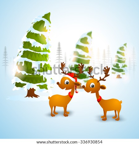 Cute reindeers and snow covered Xmas Trees on shiny sky blue background for Merry Christmas celebration. - stock vector