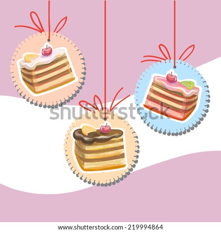 Cute retro cake on the string. Vanilla, chocolate and jam cheesecake illustration. Vector. On abstract pink wave background. As design element, for birthday card, dessert menu. - stock vector