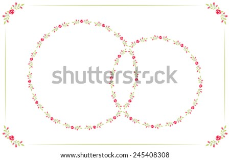 Cute retro card in shabby chic style with two frames of roses as wedding rings - stock vector
