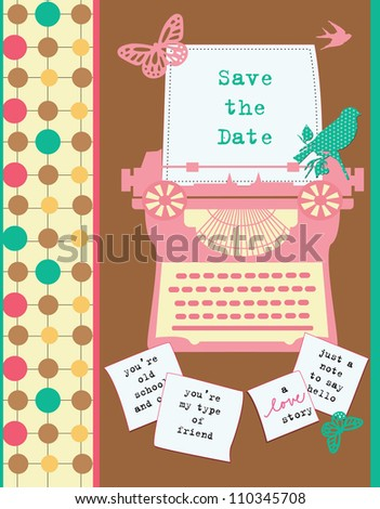 cute retro card with typewriter. vector illustration - stock vector