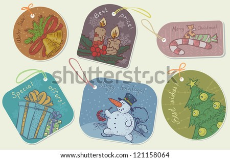 Cute retro Christmas tags (labels) - stock vector