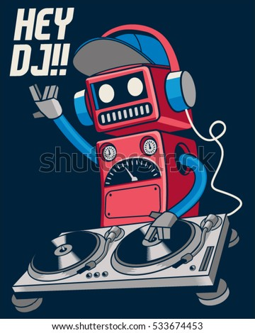 cute retro dj robot and party concept vector design