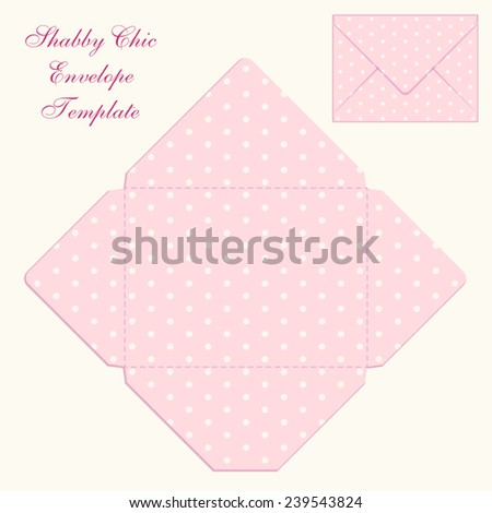 Cute retro envelope templates with polka dots ornament in shabby chic style - stock vector