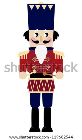 Cute retro Nutcracker isolated on white - stock vector