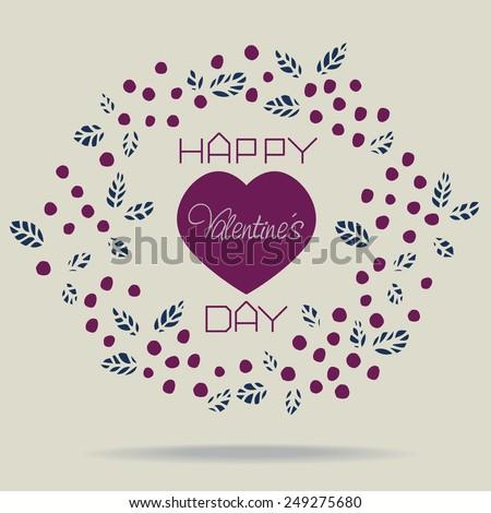 Cute retro purple floral wreath and inscription Happy Valentine�s Day Vector eps 10 - stock vector