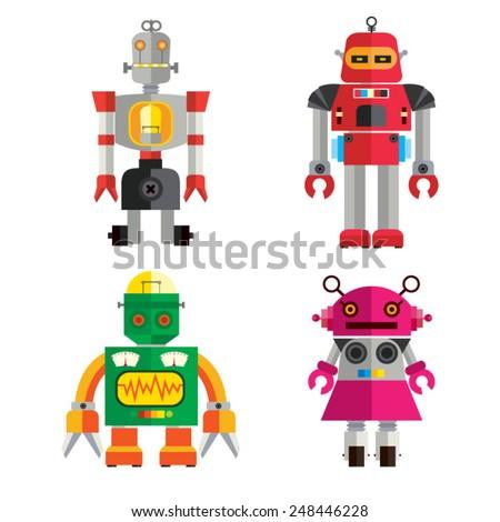 Cute Retro Robot set 1 - stock vector