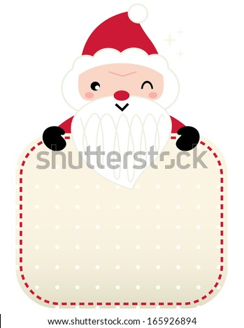 Cute retro Santa greeting with banner isolated on white - stock vector