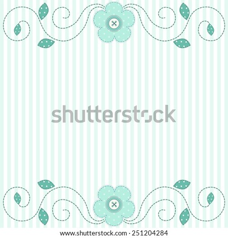 Cute retro spring card as patch fabric applique of flowers; can be used as wedding, birthday, baby or bridal shower invitation - stock vector