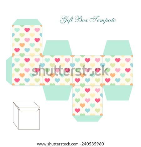 cute retro square gift box templateのベクター画像素材 240535960