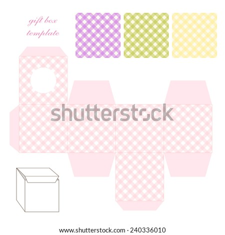 Cute retro square gingham gift box template in shabby chic style - stock vector
