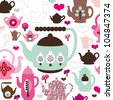 Cute retro tea pot and coffee birthday pattern background in vector - stock vector