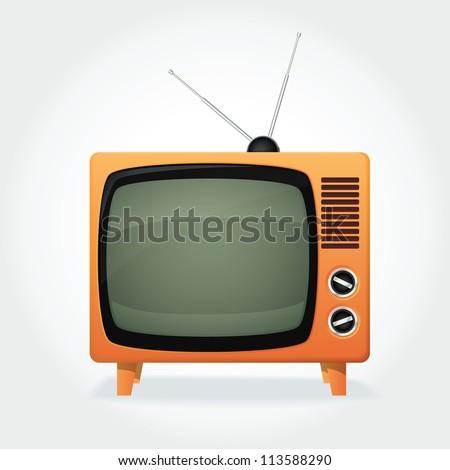 Cute retro TV set, orange cover and tiny antenna - stock vector