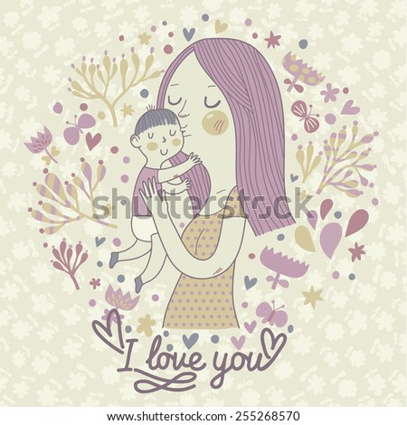 Cute retro vector card with mother and child. Happy mothers day. Vintage floral background with woman and baby