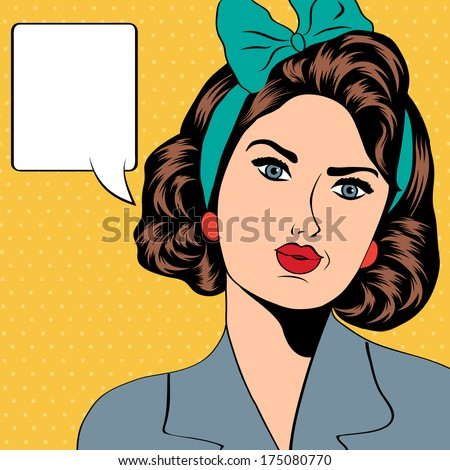 cute retro woman in comics style, vector illustration - stock vector