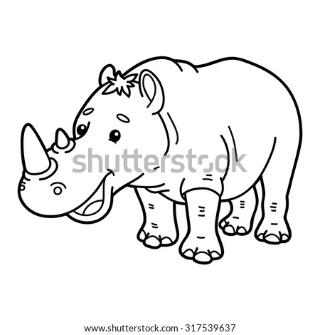 Cute rhinoceros. Vector illustration of cute cartoon rhinoceros character for children, coloring and scrap book
