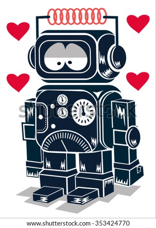 cute robot - stock vector
