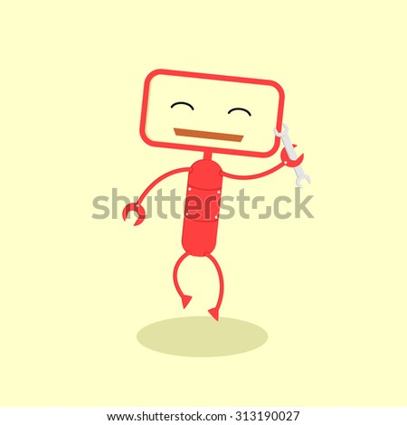Cute robot cartoon character with a wrench
