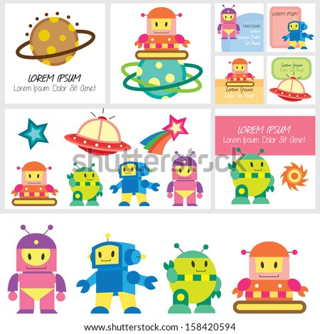 cute robot clip art and layouts - stock vector