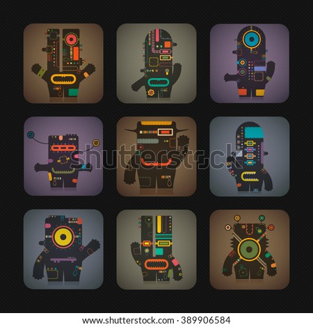 Cute robot inside colorful cube. Retro cartoon illustration, vector.  - stock vector