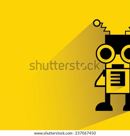 cute robot on yellow background, flat and shadow theme - stock vector