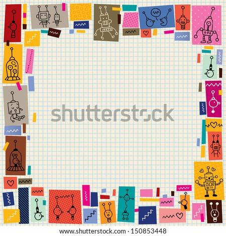 cute robots collage cartoon doodle border - stock vector