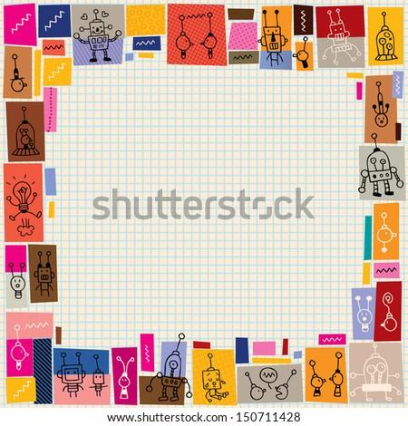 cute robots collage doodle border - stock vector