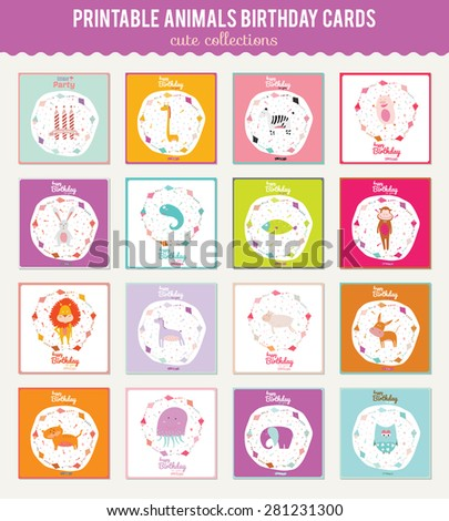 Cute, romantic and lovely Happy Birthday card for girls and boys with cute and fanny animals. Greeting Vector illustration for Birthday Party Invitation card template. - stock vector