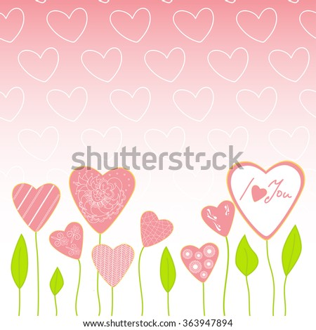 Cute romantic hearts background with text i love you. Vector isolated hearts set illustration.Can be used for card, postcard, wallpaper, web, on Valentine day