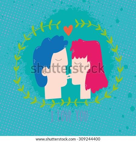 Cute romantic illustration. Girl and boy kissing cartoon illustration. Vector flat kiss. - stock vector