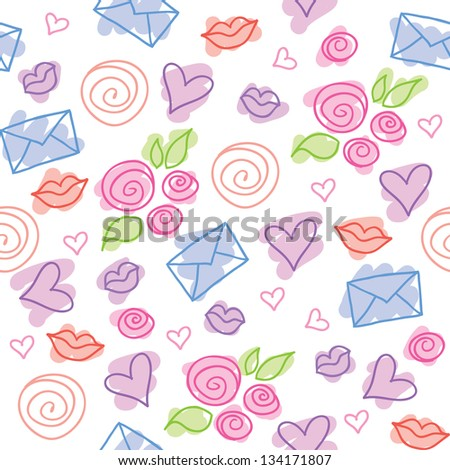 cute romantic pattern with roses, hearts and envelopes