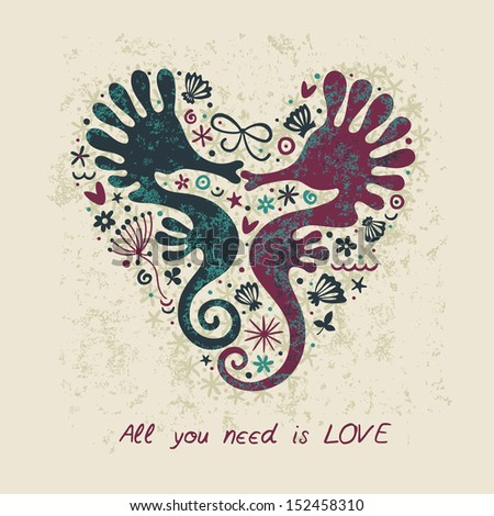 Cute romantic postcard. Cute sea horses. Love concept. - stock vector