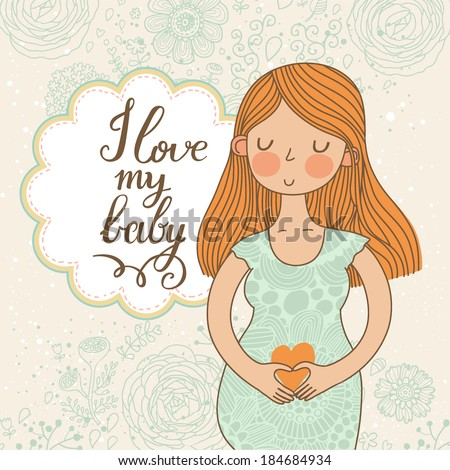 Cute romantic shower card with happy pregnant woman. Beautiful lady loves her baby. Floral vintage design - stock vector