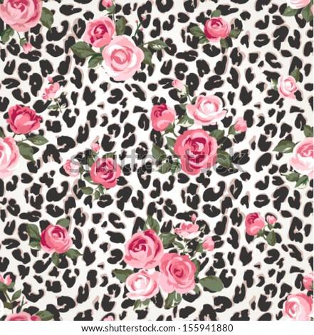 Cute Rose Seamless Mix Leopard Vector Stock Vector ...